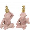 Poly monkey Atu, 2 motifs, W7cm, H13cm, pink-gold
